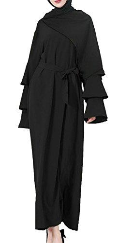 Cromoncent Womens Long Sleeve Muslim Abaya Belt Robe Dubai Saudi Maxi Dress Black 3XL by Cromoncent
