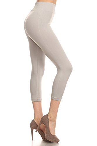Belle Donne Womens Cropped Leggings - Soft Seamless Capri Pants - Solid Color High Waist Spandex Workout Yoga Pants by Gray One Size ()
