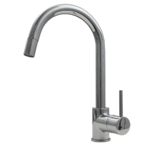 - Whitehaus WHLX78591-POCH Haus 6 7 8-Inch Single Hole Faucet with Gooseneck Swivel Spout, Pull-Down Spray Head and Lever Handle, Polished Chrome