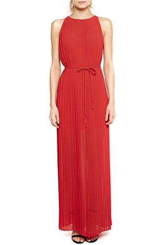 Women's Fashion Solid Color Party Pleats Chiffon Maxi Chic Dresss D400 M - Goddess Pleats Wrap