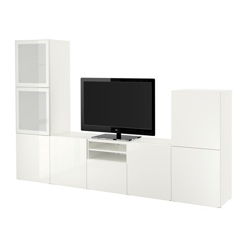 Ikea TV storage combination with push-open drawers and glass doors, white, Selsviken high-gloss/white frosted glass 8202.261726.2626