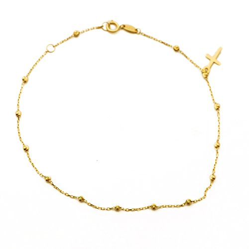 LoveBling 10K Yellow Gold .50mm Diamond Cut Rolo Chain with a Cross Charm & Beads Anklet Adjustable 9