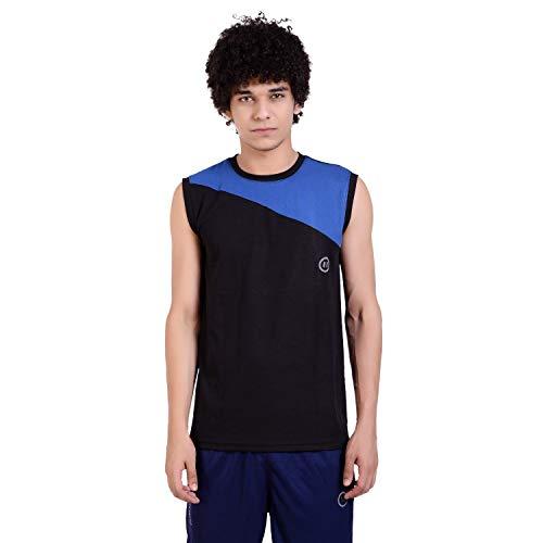 PAUSE Black Solid Mock Slim Fit Sleeve Less Men #39;s T Shirt