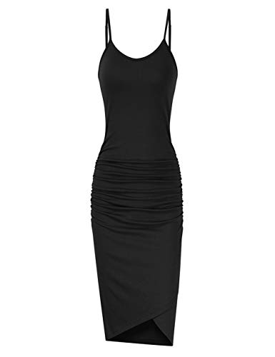 - GloryStar Women Sleeveless Spaghetti Strap Ruched Bodycon Sundress Midi Dress Black XL