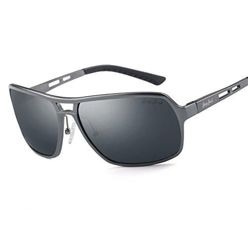 GREY JACK Polarized Sports Sunglasses Al-Mg Alloy Frame for Men Women Grey Frame Black - Glare Sunglasses For