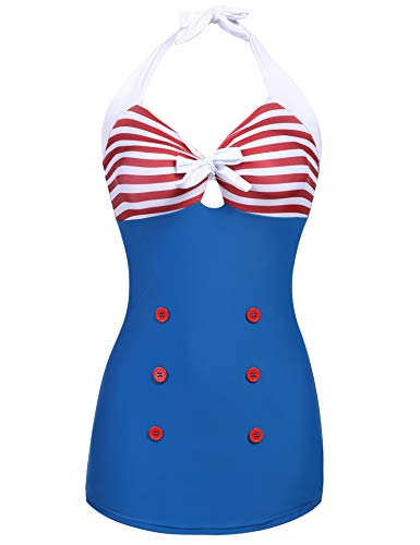(Ekouaer Vintage Sailor Pin Up Swimsuit Retro One Piece Cover Up Swimdress Navy Blue)