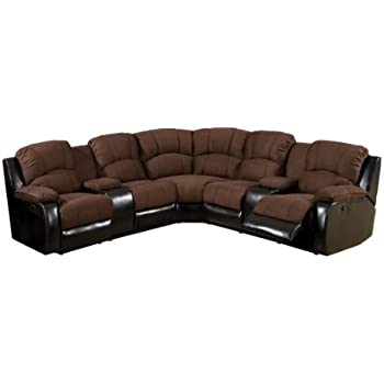 Furniture of America Conan Bonded Leather Match Sectional Sofa with 2 Recliners, Brown