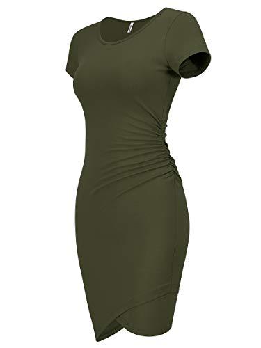 Missufe Women's Summer Short Sleeve Fitted Ruched Bodycon Irregular Mini Sheath Dress (Army Green-01, Medium)