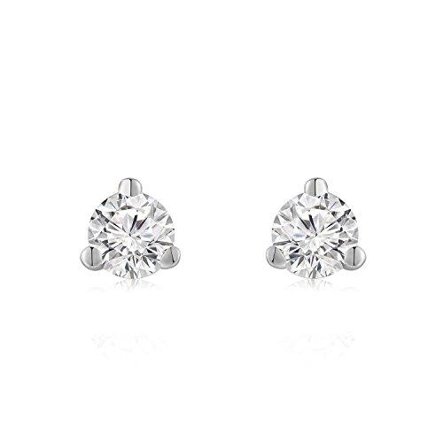 Or blanc 18carats 750simple élégant diamant solitaire Boucles d'oreilles clous (0,08CT, Couleur H-I Clarté, SI2-SI3) femmes bijoux anniversaire cadeau de mariage