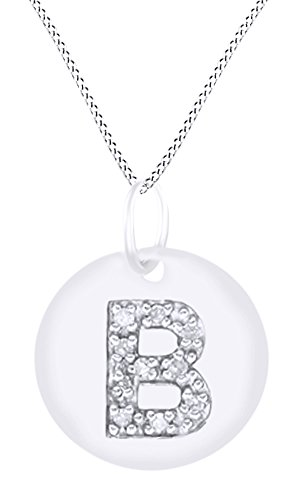 AFFY White Natural Diamond Initial B Letter Disc Pendant Necklace in 14k White Gold Over Sterling Silver -