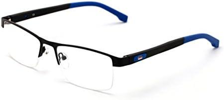 V.W.E. Men Half Rimless Rectangular Non-prescription Glasses Frame Clear Lens Eyeglasses TR90