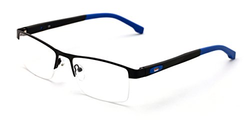 V.W.E. Men Half Rimless Rectangular Non-prescription Glasses Frame Clear Lens Eyeglasses TR90 (Black Blue)