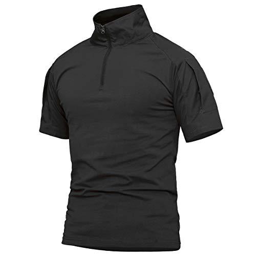 - ReFire Gear Men's Military Tactical Army Combat Short Sleeve Shirt Slim Fit Camo T-Shirt with 1/4 Zipper (US X-Large, Black-Short)