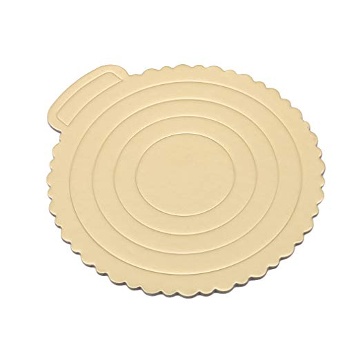 Meoliny Round Cake Boards Portable Cardboard Scalloped Cake Circle Base for Cook,10.83 9.84inch by Meoliny (Image #1)