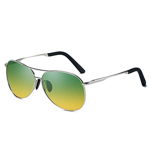 99 Metal UV400 De De Sol QQBL De Gafas Nocturna La De Diurna Vista TAC Doble Visible De YellowGreen Luz Yellow Sol Conducción Y Perspectiva Color Polarizada Gafas 886x0Uqv