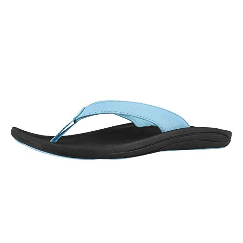 OLUKAI Women's Kulapa Kai Thong Sandal Blue 8 M (Jersey Leather Thongs)