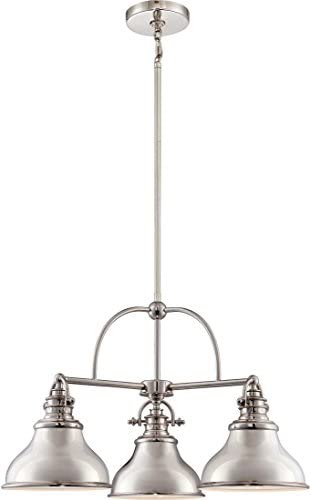 Quoizel ER5103IS Emery Metal Shade Chandelier, 3-Light, 300 Watts, Imperial Silver 15 H x 24 W