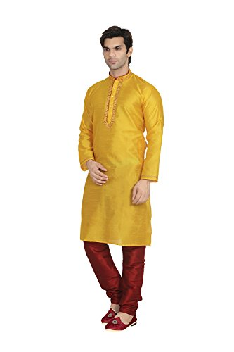 Fashions Trendz Indian Traditional Partywear Ethnic Yallow Kurta Pajama for Mens Set of 2 by Fashions Trendz