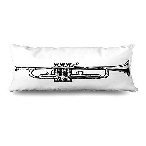 Ahawoso Body Pillows Cover 20x54 Inches Engraving Drawn Trumpet Black White Brass Vintage Instrument Orchestra Attractive Band Decorative Cushion Case Home Decor -