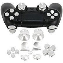 Full Aluminum Metal Buttons for PS4 Controller, YTTL Custom Metal Thumbsticks Analog Grip + Metal ABXY + D-pad + Metal L1 R1 L2 R2 Trigger Buttons for Playstation 4 DualShock 4 PS4 Controller - Silver -