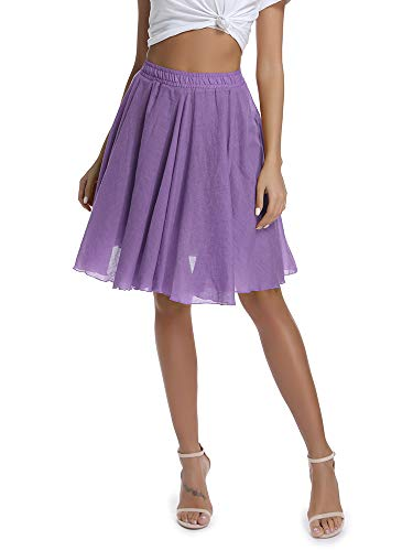 Women's Lightweight Flare Big Swing Boho Knee Length Skirt, Elastic Waist Flowing Beach Wear Purple Tag 36 - US 20 ()