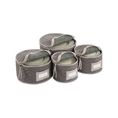Richards Homewares Micro Fiber Deluxe Plate Case, Set of 4-Grey