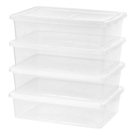 Mainstays 28 Quart Boot Box Storage Container, Clear, 4 Pack