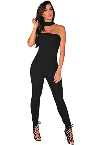 NEW Femme Noir Combinaison robe ras du cou/Body Soirée Fête Taille S UK 8–10EU 36–38