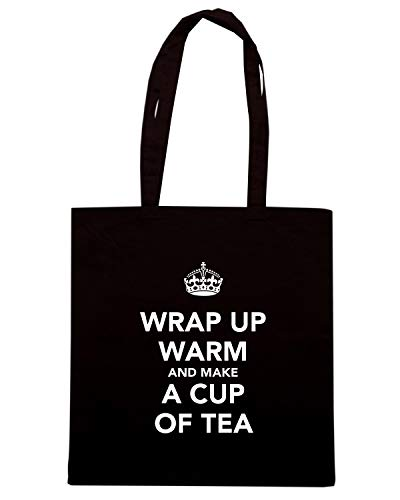 Speed Shirt Borsa Shopper Nera TKC4192 KEEP CALM AND WRAP UP WARM AND MAKE A CUP OF TEA