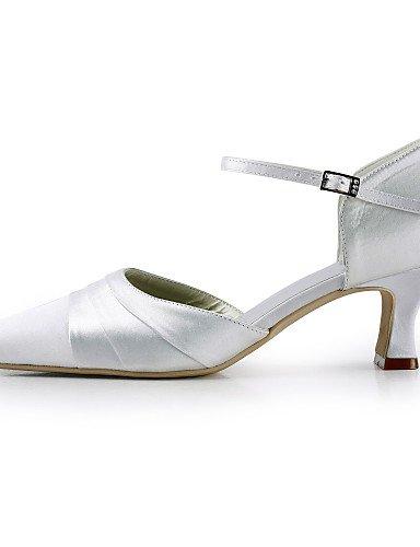 Soie nbsp;soirée robe fête Rond Mariage Bout Talon amp; 2 chaussures Femmes Ijkmn Plat Blanche 3 Des white talons 2in Talon Ggx 4in Z8w6EnqFxv