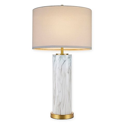Cupcakes and Cashmere Marble Column Table Lamp with CFL Bulb