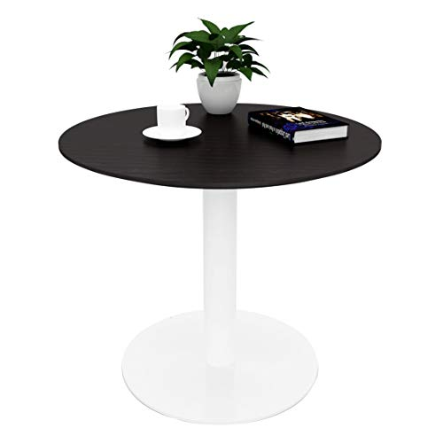 Sunon D27.5'' x H23.6'' Round Cafe Table with White Pedestal Base Small Round Table for Pub/Conference/Kitchen (Dark ()
