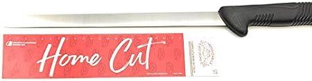 Cuchillo jamón, embutidos y embutidos secos mango ergonómico de polipropileno, hoja fina y flexible | Cuchillos Pascotto – Doi Leons – Fabricado en Italia (Lama satinada estrecha 28 cm)