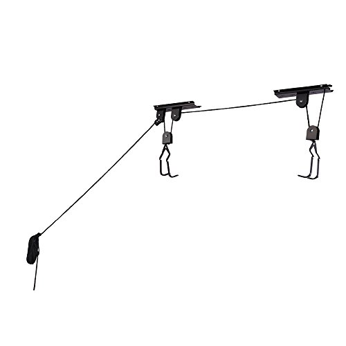 Heavy Duty Bicycle Hoist - Garage Storage. 100lb Capacity, Rubber Coating, Easy Lifting, Locking Mechanism.