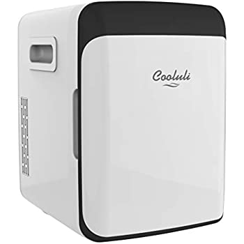 Cooluli Classic White 10 Liter Compact Portable Cooler Warmer Mini Fridge for Bedroom, Office, Dorm, Car - Great for Skincare & Cosmetics (110-240V/12V)