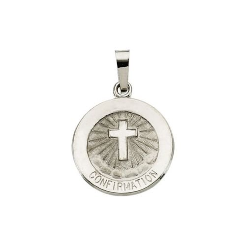 R5045 14K White 15.00 Mm Polished Confirmation Medal WCross