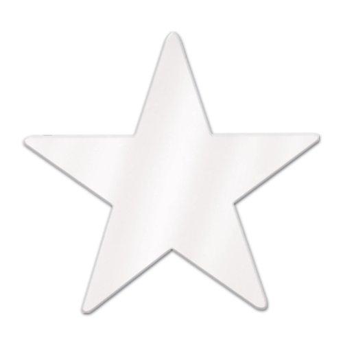 Beistle 57027-W White Metallic Star Cutouts, 3-1/2 Inch, 12 Pieces Per (Star Cutouts Decorations)