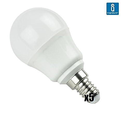 Pack de 5 Bombillas LED G45 esferica, 4W, casquillo fino E14, 320 lumen, luz blanca 6400K: Amazon.es: Iluminación