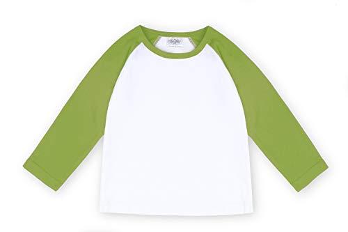 CloudCreator Toddler Baby Girls Boys Long Sleeve Shirts Raglan Shirt Baseball Tee Cotton T-Shirt (Light Green, 3 ()