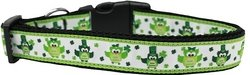 Dog Collars Dotted Ribbon (Mirage Pet Products 125-256 MD St. Patty's Day Party Owls Nylon Dog Collar, Medium)