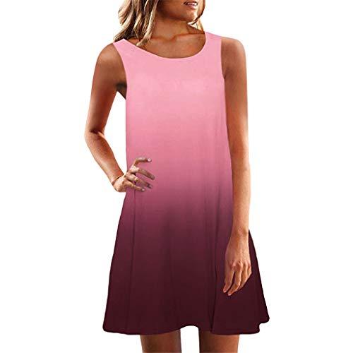 - Sunmoot Women Sleeveless Crew Neck Casual Loose Fitting Gradient Dresses