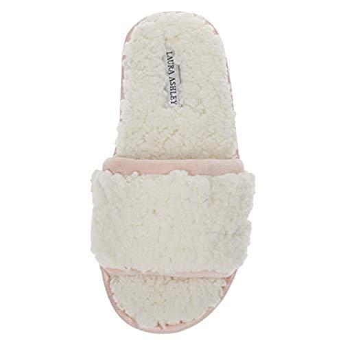 Laura Ashley Womens Ladies Luxury Spa Sherpa One Band with Memory Foam Slippers Macaron Pink Medium (Ashley Laura Bedroom)