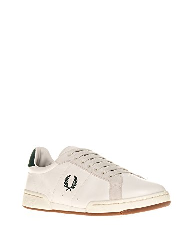 Fred Perry Heren Heren Witte Sneakers Β722 Met Groene Gegevens Licht Ecru