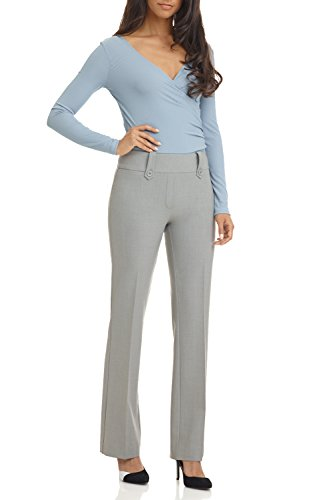 Rekucci Women's Smart Desk to Dinner Stretch Bootcut Pant w/Tummy Control (2,Silver Mix)