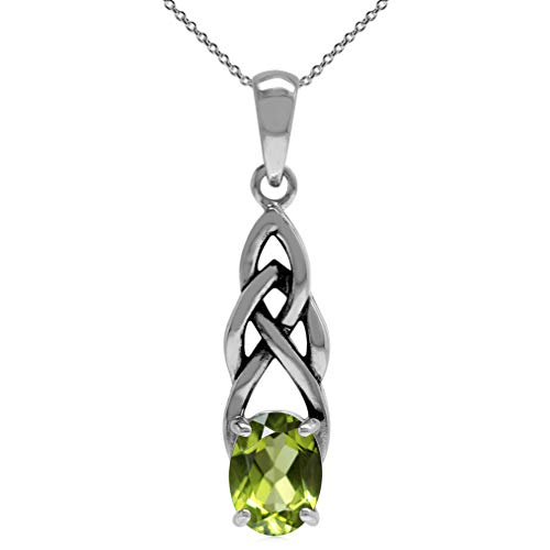 1.32ct. Natural Peridot 925 Sterling Silver Celtic Knot Solitaire Pendant w/ 18 Inch Chain Necklace (Knot Celtic Peridot)