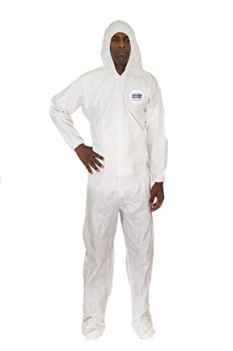 Microguard MP Microporous (White) | Particulate & Splash Protection/Disposable Hazmat Coverall with Attached Hood and Elastic Wrist & Ankle for Paint and Particulates (2XL, Case of - Jumpsuit Space Crawl
