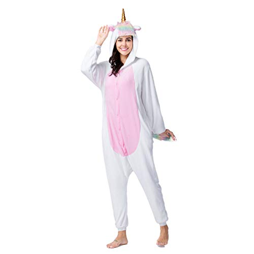RONGTAI Adults Unisex Animal Flannel Unicorn Onesie Pajamas Cosplay Costume(XL, Gloden Horn Unicorn)