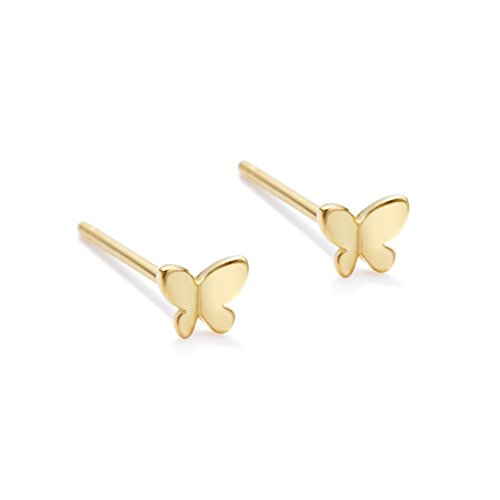 (Sterling Silver Earrings Tiny Butterfly Earrings Stud Earrings for Woman Tiny Earrings Dainty Earrings Hypoallergenic Earrings 14K Gold Earrings for Women)
