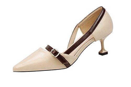 Makegsi Femmes Habillées Talons Hauts Pompes Slip Sur Talon Chaussures Abricot
