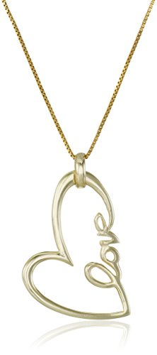 Sterling Silver with Yellow Gold Flashed Love Heart Pendant Necklace, 18